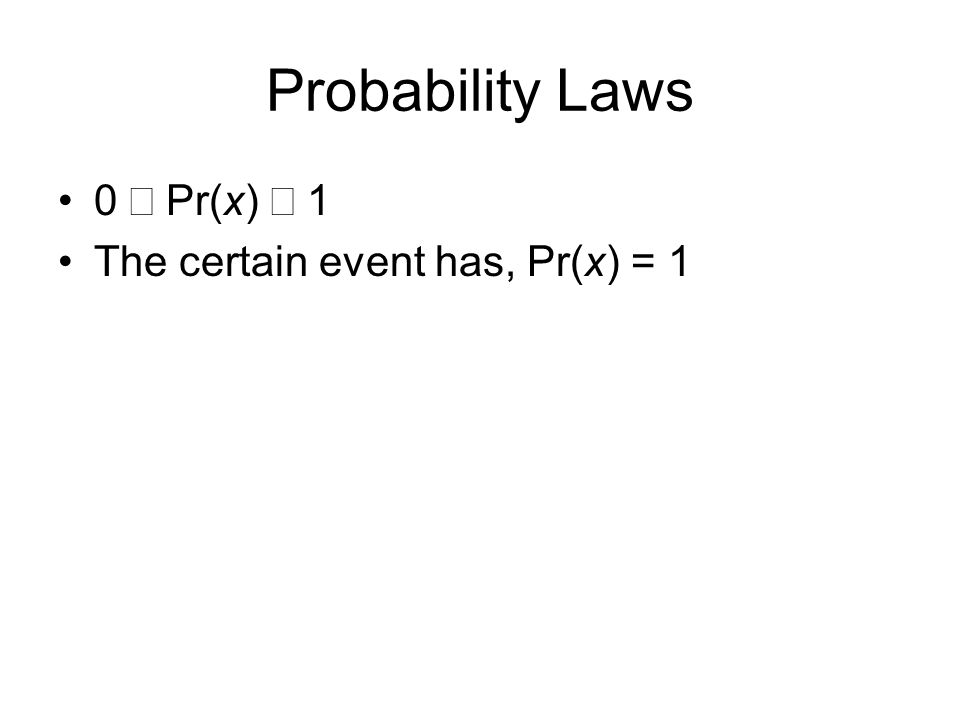 Probability Laws 0 Pr(x) 1 The certain event has, Pr(x) = 1