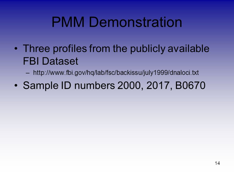 PMM Demonstration Three profiles from the publicly available FBI Dataset –  Sample ID numbers 2000, 2017, B