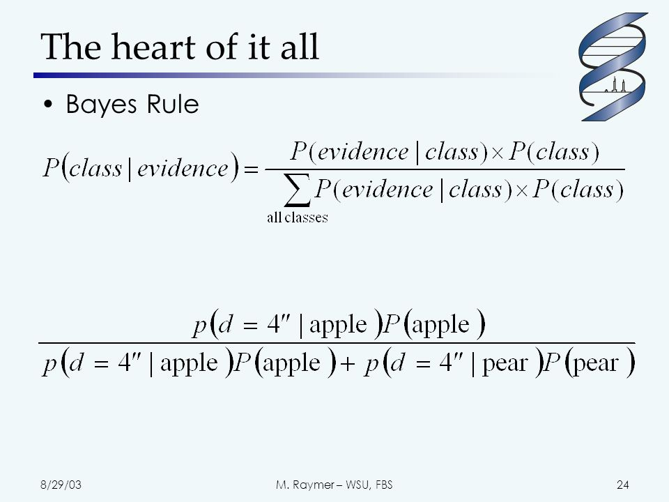 8/29/03M. Raymer – WSU, FBS24 The heart of it all Bayes Rule