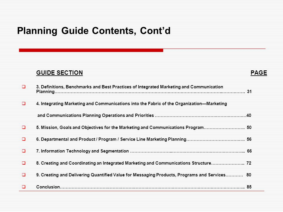 Planning Guide Contents, Contd GUIDE SECTION PAGE 3.