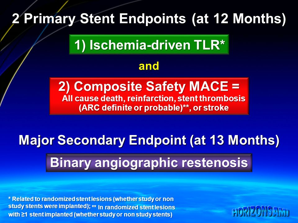 2 Primary Stent Endpoints (at 12 Months) 1) Ischemia-driven TLR* 2) Composite Safety MACE = All cause death, reinfarction, stent thrombosis (ARC definite or probable)**, or stroke and * Related to randomized stent lesions (whether study or non study stents were implanted); Major Secondary Endpoint (at 13 Months) Binary angiographic restenosis ** In randomized stent lesions with 1 stent implanted (whether study or non study stents) ** In randomized stent lesions with 1 stent implanted (whether study or non study stents)