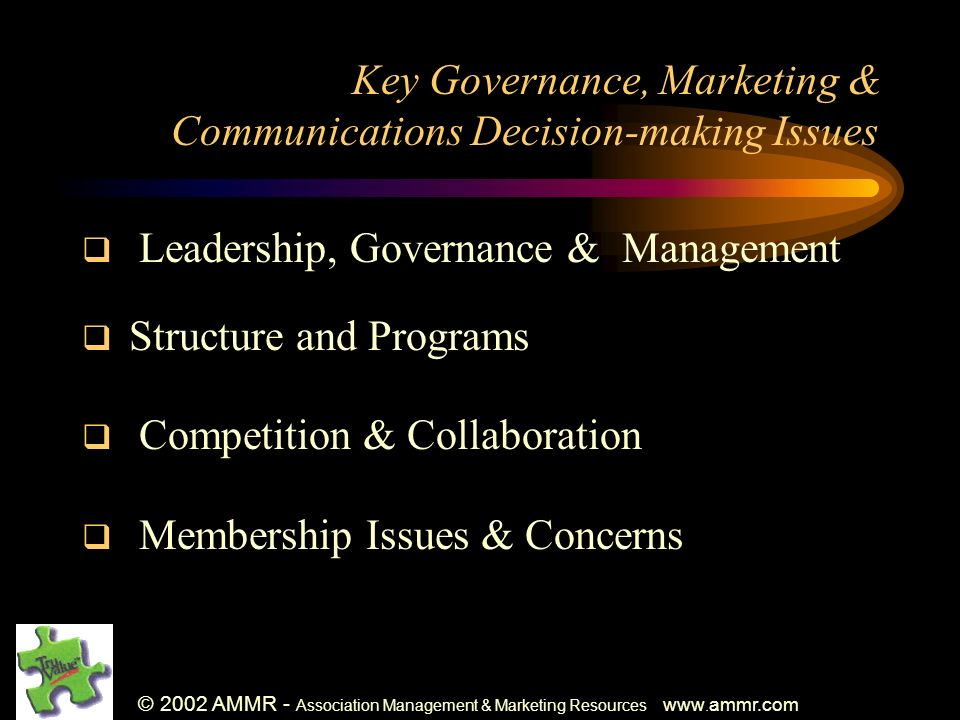 © 2002 AMMR - Association Management & Marketing Resources www.
