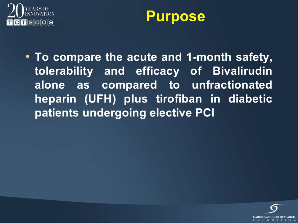 Few data exist comparing bivalirudin with UFH plus GP IIb/IIIa inhibitors in diabetic patients Post-hoc analysis of REPLACE-2 and ACUITY 1-2 no difference in short and long-term ischemic events lower rate of major bleeding Background 1 Gurm HS.