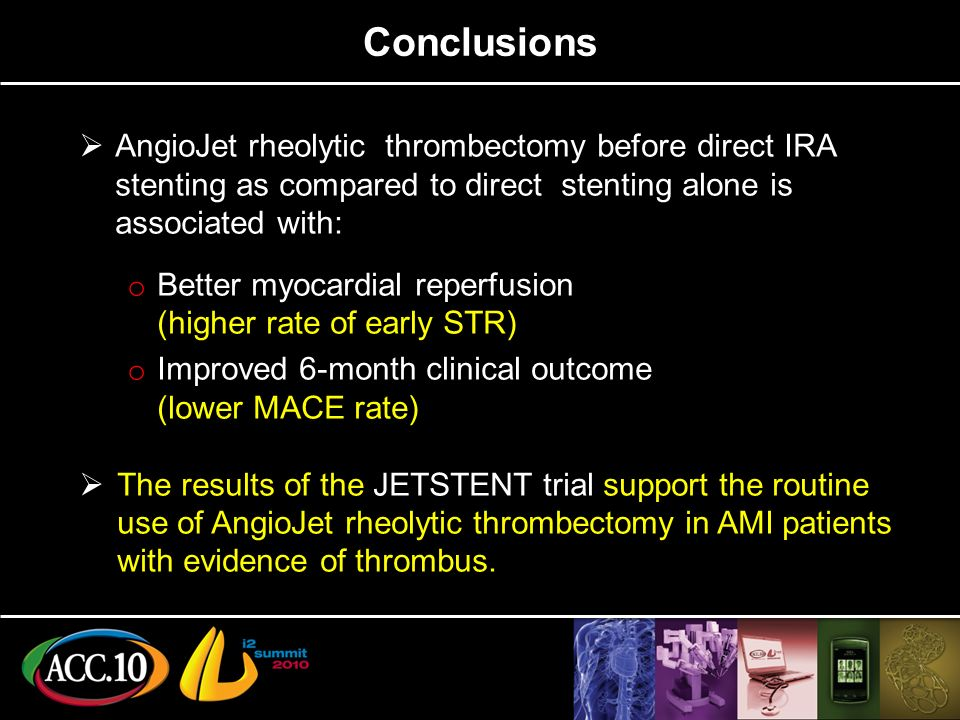 Conclusions AngioJet rheolytic thrombectomy before direct IRA stenting as compared to direct stenting alone is associated with: o Better myocardial reperfusion (higher rate of early STR) o Improved 6-month clinical outcome (lower MACE rate) The results of the JETSTENT trial support the routine use of AngioJet rheolytic thrombectomy in AMI patients with evidence of thrombus.