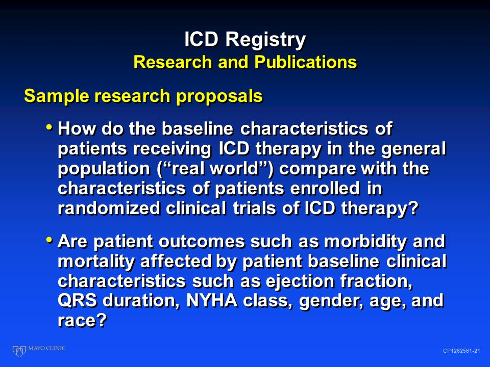 ICD Registry Research and Publications CP1262561-20 Research requests are reviewed and prioritized by R&P Subcommittee 34+ requests to date ICD-Registry provides financial support for data analysis Yale CORE assists with data analysis 6 abstracts presented at AHA, 11/07 5 manuscripts Research requests are reviewed and prioritized by R&P Subcommittee 34+ requests to date ICD-Registry provides financial support for data analysis Yale CORE assists with data analysis 6 abstracts presented at AHA, 11/07 5 manuscripts