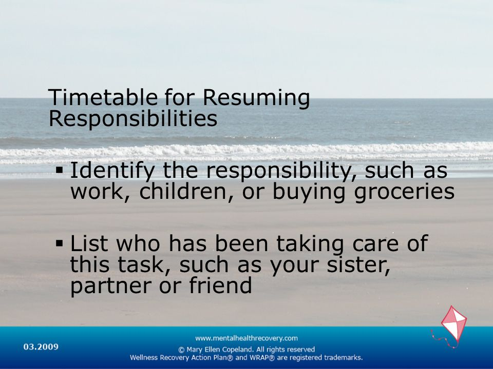 Timetable for Resuming Responsibilities Identify the responsibility, such as work, children, or buying groceries List who has been taking care of this task, such as your sister, partner or friend