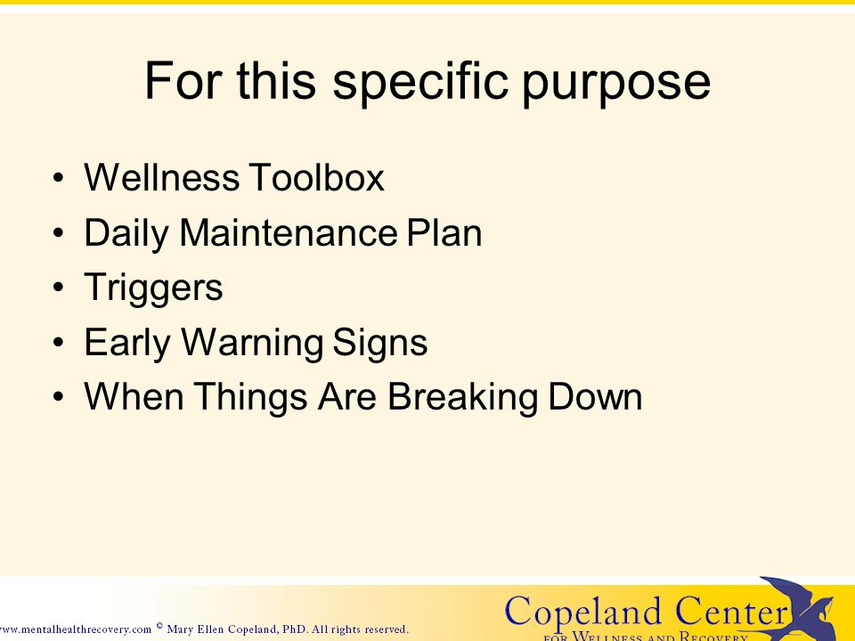 For this specific purpose Wellness Toolbox Daily Maintenance Plan Triggers Early Warning Signs When Things Are Breaking Down
