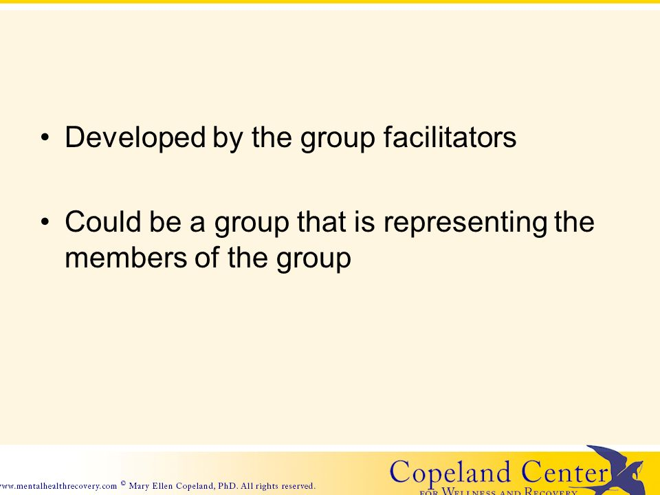 Developed by the group facilitators Could be a group that is representing the members of the group