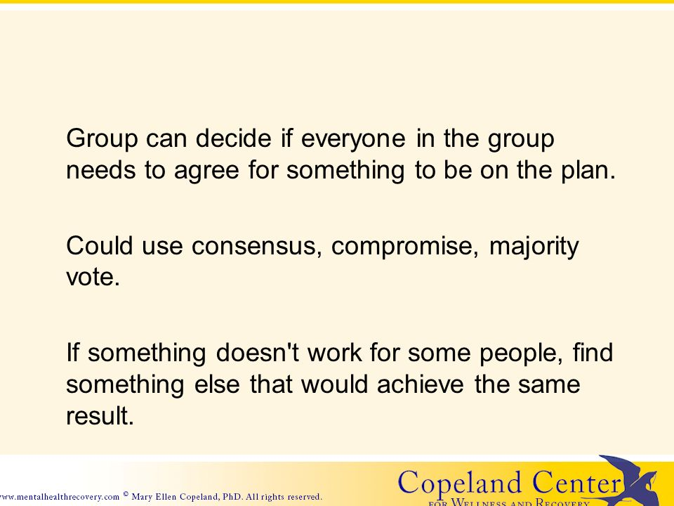 Group can decide if everyone in the group needs to agree for something to be on the plan.
