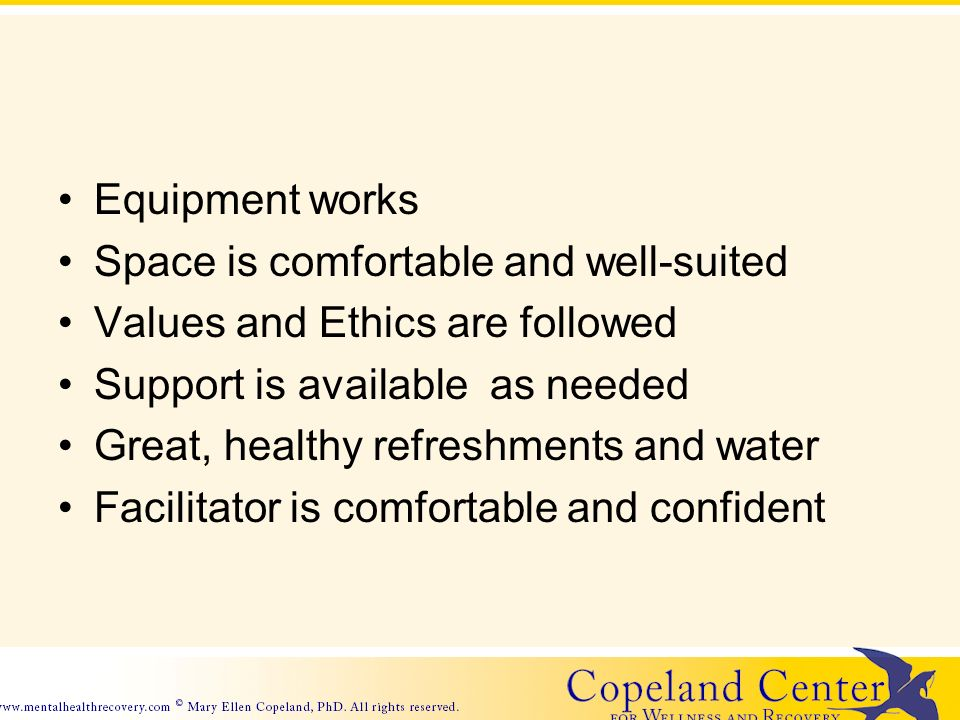 Equipment works Space is comfortable and well-suited Values and Ethics are followed Support is available as needed Great, healthy refreshments and water Facilitator is comfortable and confident