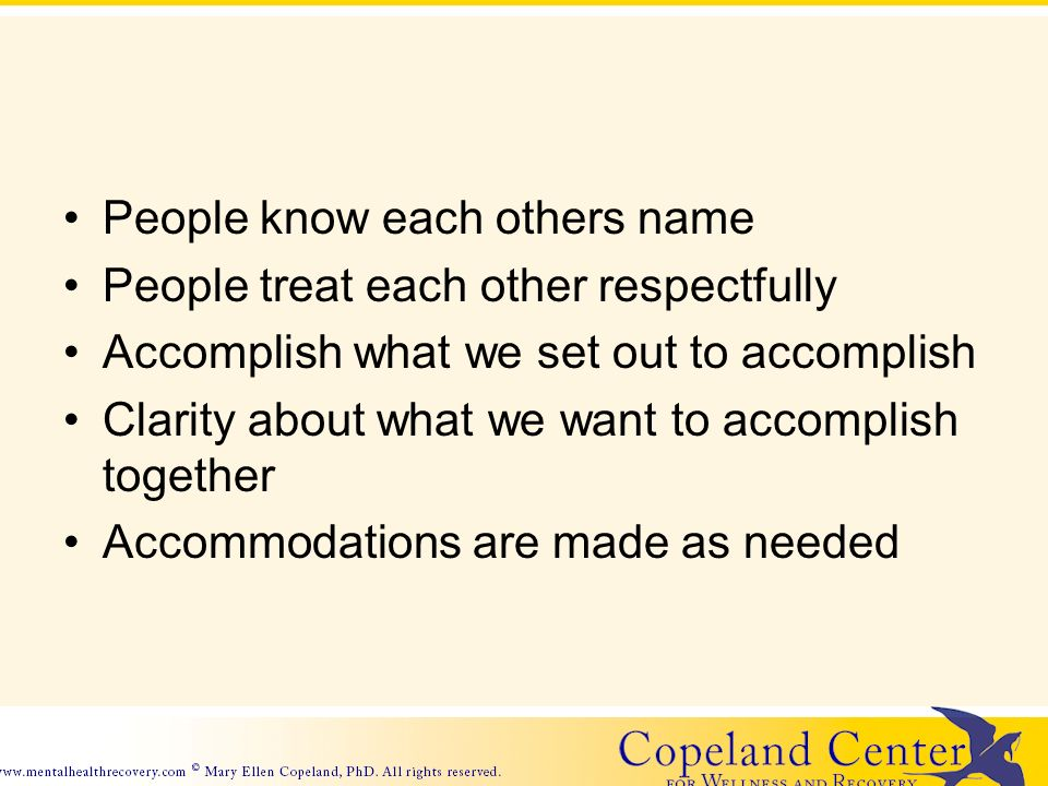 People know each others name People treat each other respectfully Accomplish what we set out to accomplish Clarity about what we want to accomplish together Accommodations are made as needed