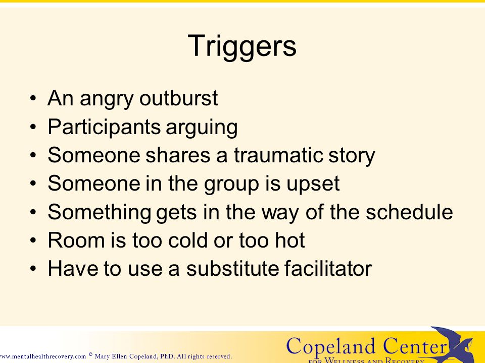 Triggers An angry outburst Participants arguing Someone shares a traumatic story Someone in the group is upset Something gets in the way of the schedule Room is too cold or too hot Have to use a substitute facilitator