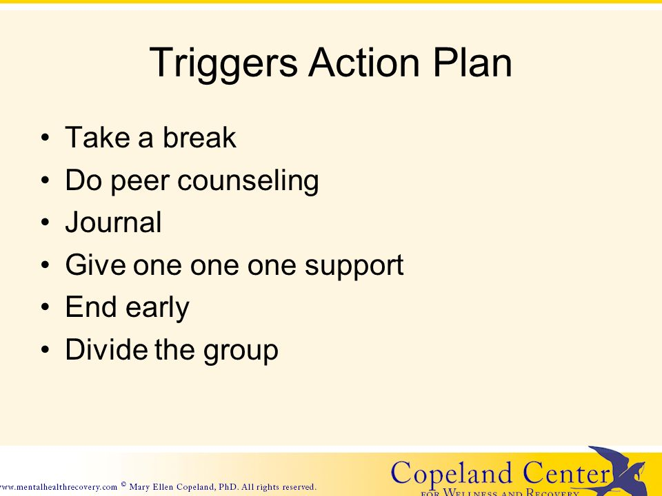 Triggers Action Plan Take a break Do peer counseling Journal Give one one one support End early Divide the group