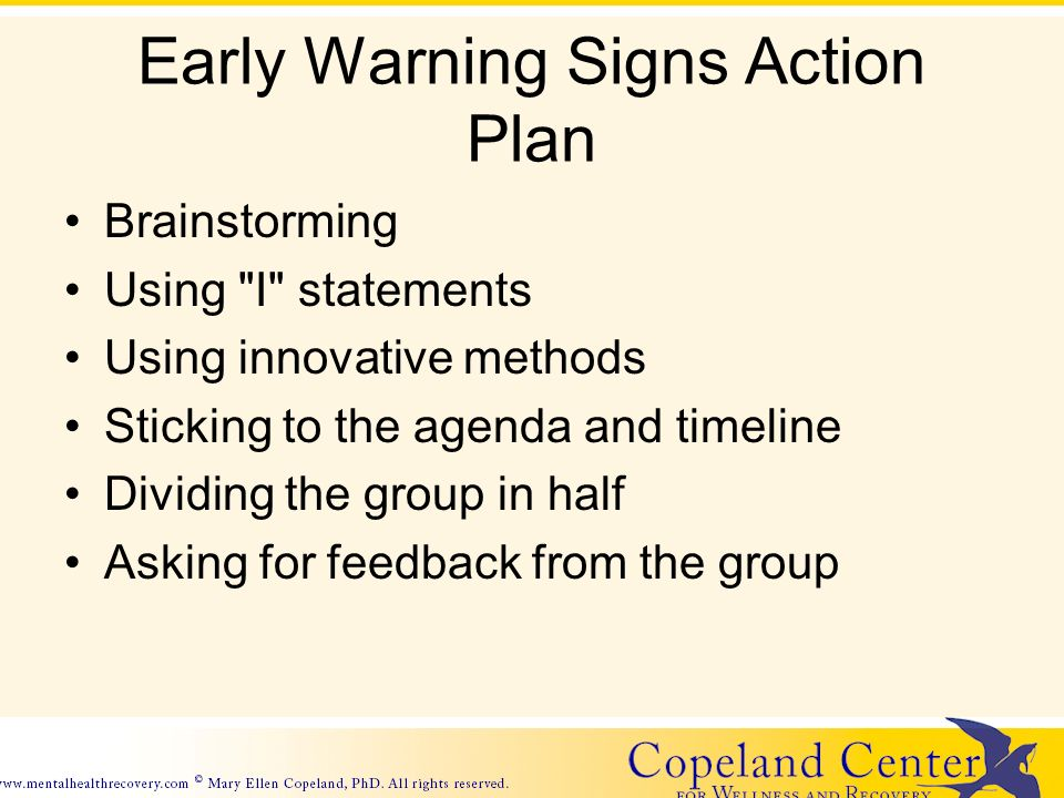Early Warning Signs Action Plan Brainstorming Using I statements Using innovative methods Sticking to the agenda and timeline Dividing the group in half Asking for feedback from the group