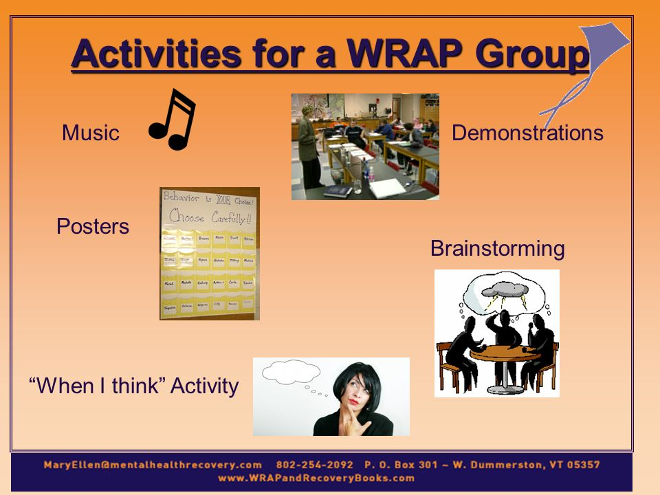 Activities for a WRAP Group When I think Activity MusicDemonstrations Posters Brainstorming