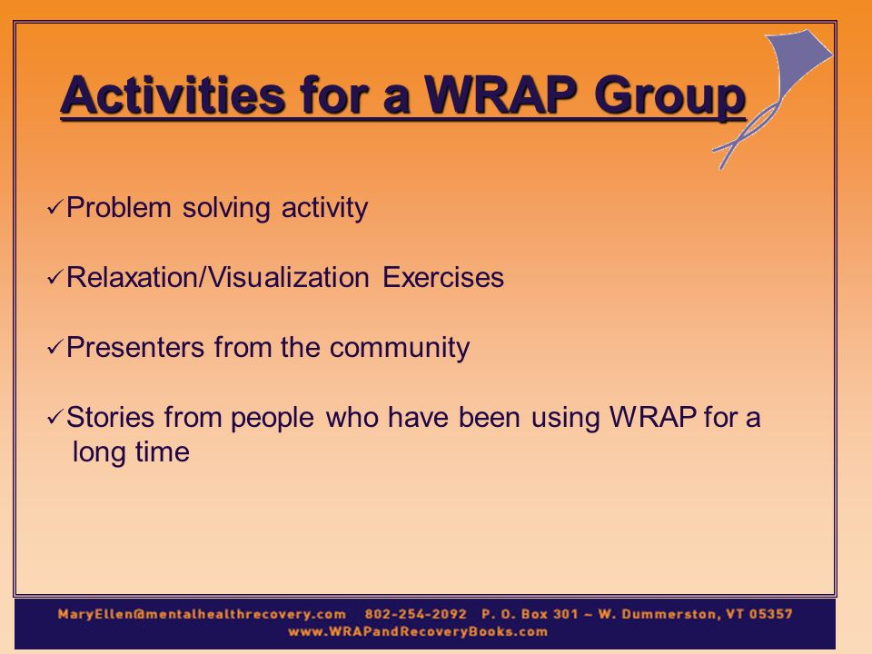 Problem solving activity Relaxation/Visualization Exercises Presenters from the community Stories from people who have been using WRAP for a long time Activities for a WRAP Group