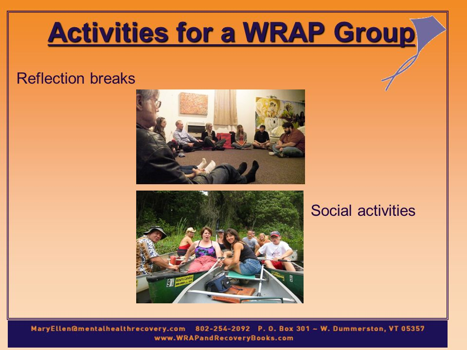 Reflection breaks Social activities Activities for a WRAP Group