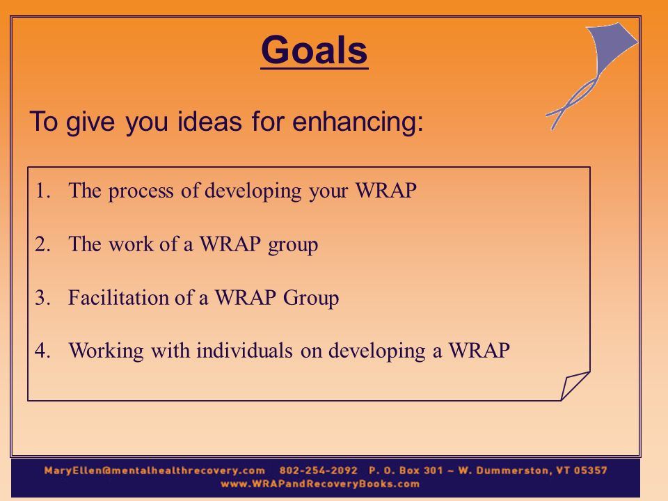 Goals To give you ideas for enhancing: 1.The process of developing your WRAP 2.The work of a WRAP group 3.Facilitation of a WRAP Group 4.Working with individuals on developing a WRAP