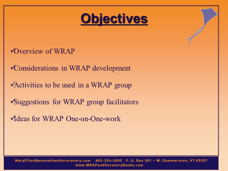 Objectives Overview of WRAP Considerations in WRAP development Activities to be used in a WRAP group Suggestions for WRAP group facilitators Ideas for WRAP One-on-One-work