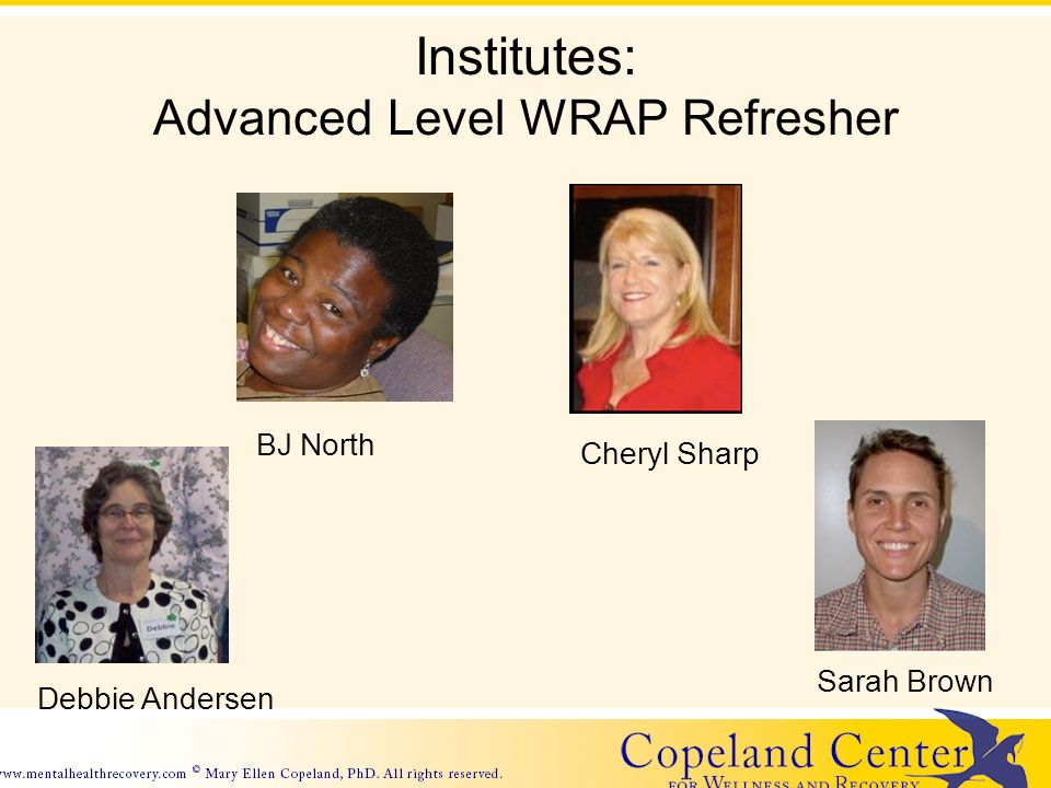 Institutes: Advanced Level WRAP Refresher BJ North Debbie Andersen Sarah Brown Cheryl Sharp