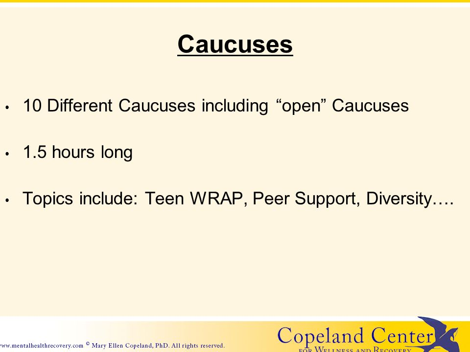 Caucuses 10 Different Caucuses including open Caucuses 1.5 hours long Topics include: Teen WRAP, Peer Support, Diversity….