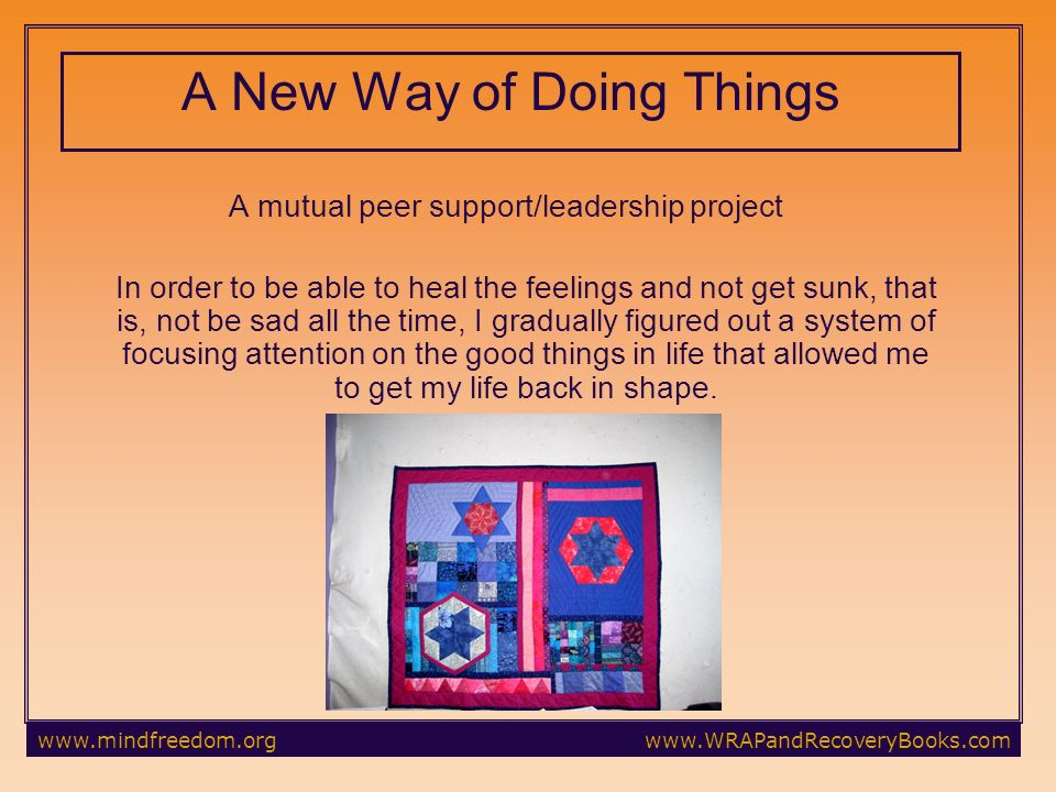 A New Way of Doing Things A mutual peer support/leadership project In order to be able to heal the feelings and not get sunk, that is, not be sad all the time, I gradually figured out a system of focusing attention on the good things in life that allowed me to get my life back in shape.