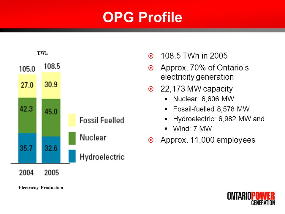 OPG Profile TWh in 2005 Approx.