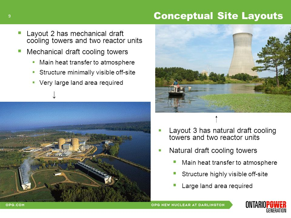 8 The Project - Conceptual Plant Layouts Conceptual layouts developed to provide for principle buildings and structures All provide for: Site access Switchyard Expansion Parking, Construction Facilities Soil Stockpiles, Lake fill, Land fill Used Fuel & Nuclear Waste Storage Layout 1: 4 reactors and once through lake water cooling