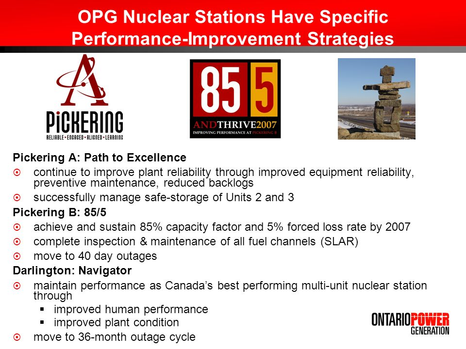 OPG Nuclear Stations Have Specific Performance-Improvement Strategies Pickering A: Path to Excellence continue to improve plant reliability through improved equipment reliability, preventive maintenance, reduced backlogs successfully manage safe-storage of Units 2 and 3 Pickering B: 85/5 achieve and sustain 85% capacity factor and 5% forced loss rate by 2007 complete inspection & maintenance of all fuel channels (SLAR) move to 40 day outages Darlington: Navigator maintain performance as Canadas best performing multi-unit nuclear station through improved human performance improved plant condition move to 36-month outage cycle
