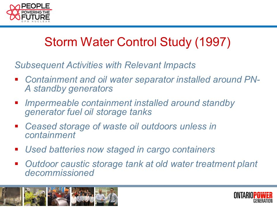 Storm Water Control Study (1997) Subsequent Actions Total Suspended Solids Reduction Program Cleaned out 250 catch basins and manholes Erosion control at ditches Elimination of herbicide spray application Installed 28 catch basin filter inserts at Parking Lots