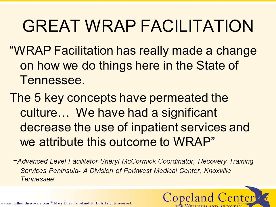 GREAT WRAP FACILITATION WRAP Facilitation has really made a change on how we do things here in the State of Tennessee.