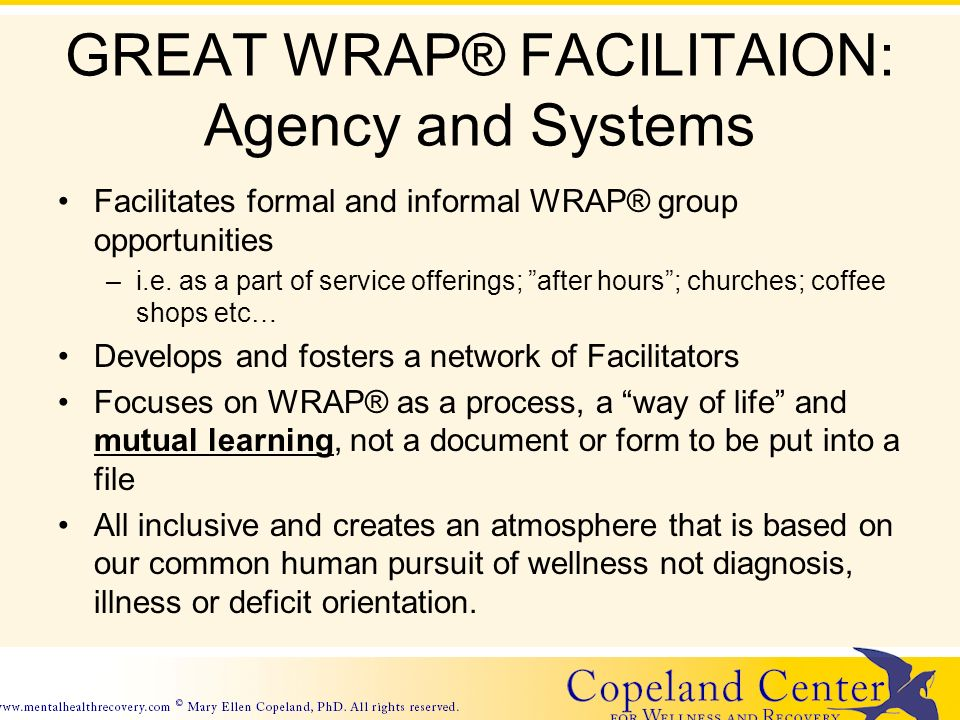 GREAT WRAP® FACILITAION: Agency and Systems Facilitates formal and informal WRAP® group opportunities –i.e.