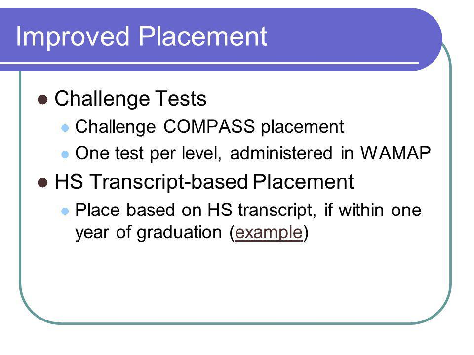 Improved Placement Challenge Tests Challenge COMPASS placement One test per level, administered in WAMAP HS Transcript-based Placement Place based on HS transcript, if within one year of graduation (example)example