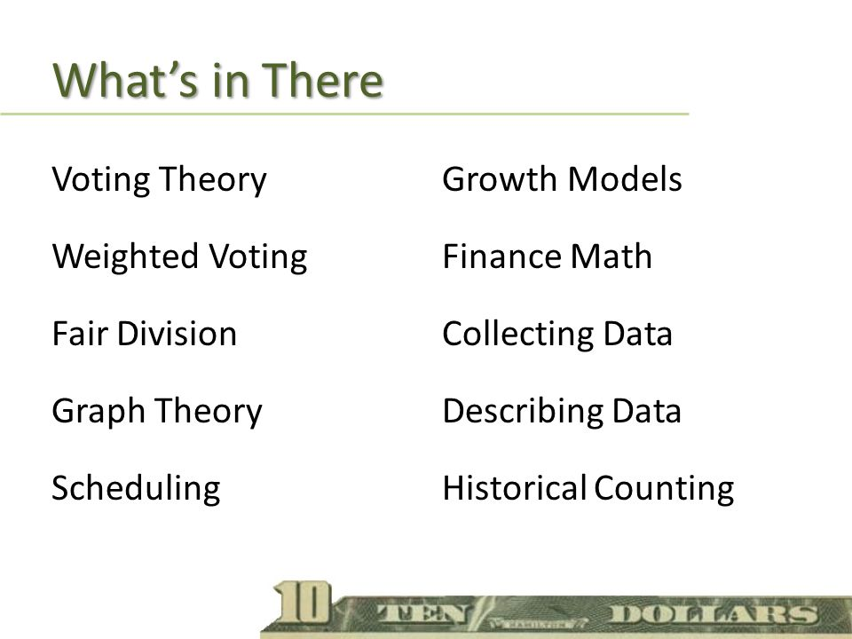 Whats in There Voting Theory Weighted Voting Fair Division Graph Theory Scheduling Growth Models Finance Math Collecting Data Describing Data Historical Counting