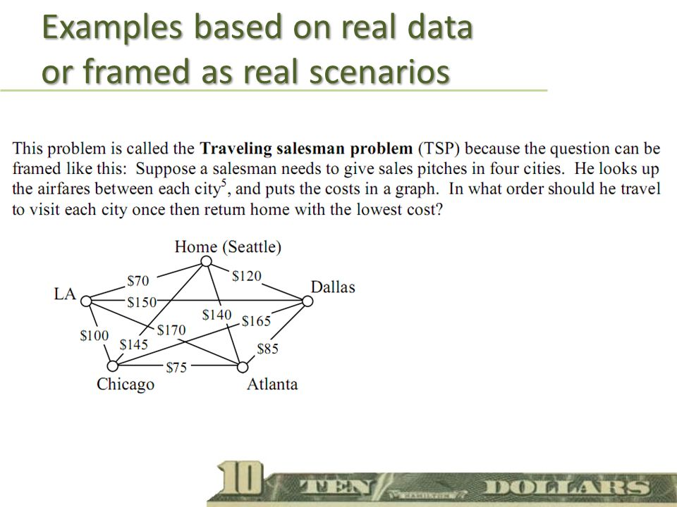 Examples based on real data or framed as real scenarios