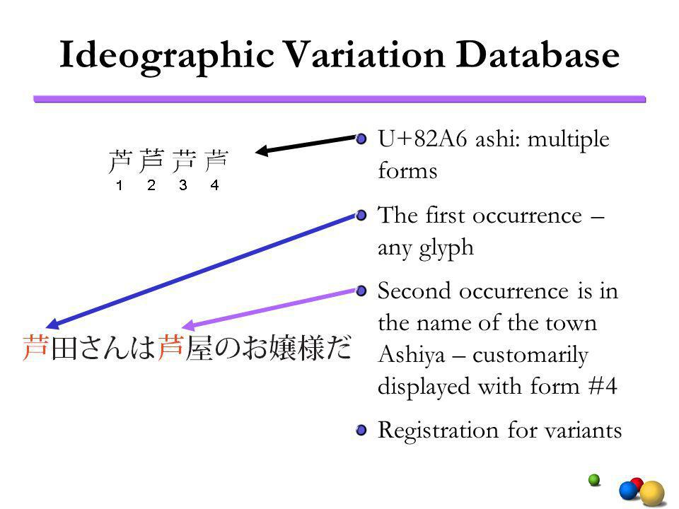 Ideographic Variation Database U+82A6 ashi: multiple forms The first occurrence – any glyph Second occurrence is in the name of the town Ashiya – customarily displayed with form #4 Registration for variants