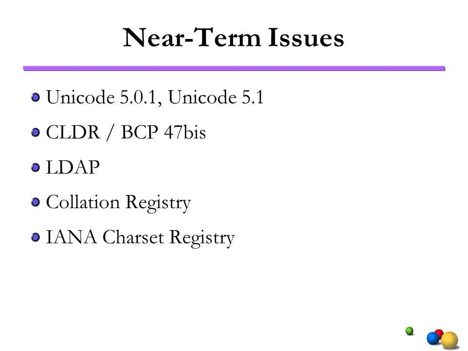 Near-Term Issues Unicode 5.0.1, Unicode 5.1 CLDR / BCP 47bis LDAP Collation Registry IANA Charset Registry