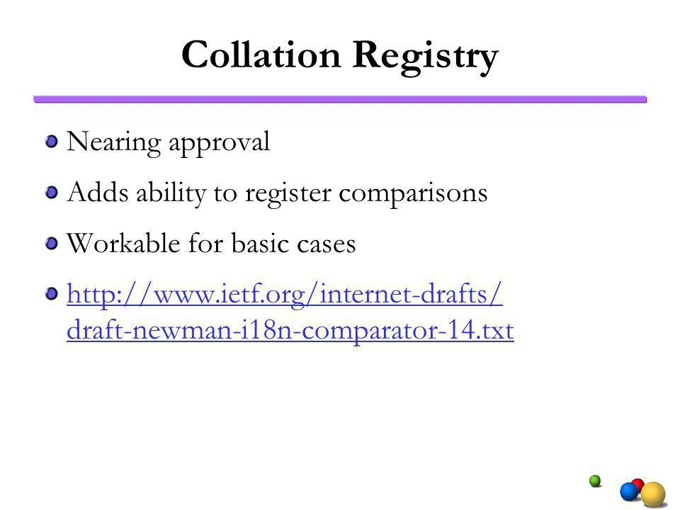Collation Registry Nearing approval Adds ability to register comparisons Workable for basic cases   draft-newman-i18n-comparator-14.txt