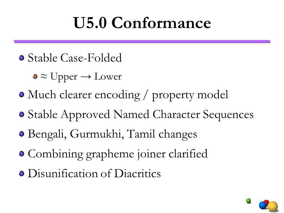 U5.0 Conformance Stable Case-Folded Upper Lower Much clearer encoding / property model Stable Approved Named Character Sequences Bengali, Gurmukhi, Tamil changes Combining grapheme joiner clarified Disunification of Diacritics