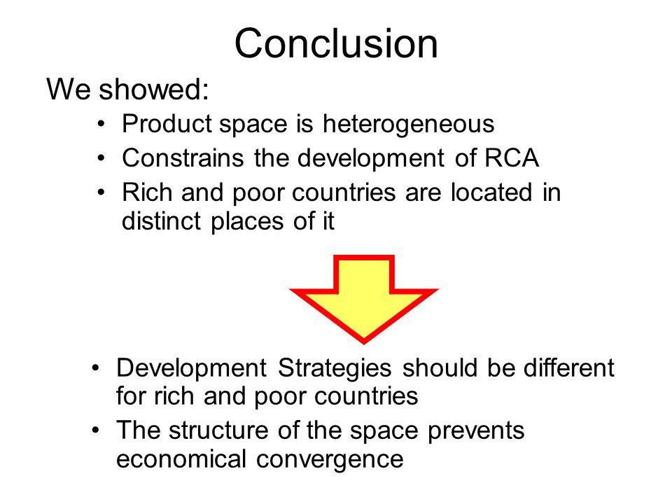 Conclusion We showed: Product space is heterogeneous Constrains the development of RCA Rich and poor countries are located in distinct places of it Development Strategies should be different for rich and poor countries The structure of the space prevents economical convergence