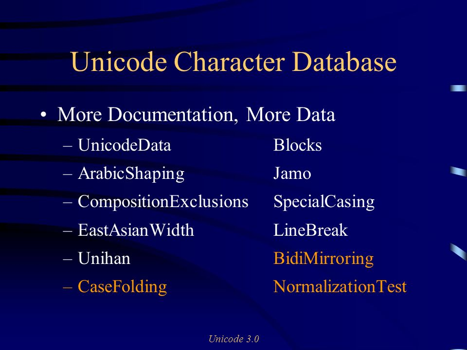 Unicode 3.0 Unicode Character Database More Documentation, More Data –UnicodeDataBlocks –ArabicShapingJamo –CompositionExclusionsSpecialCasing –EastAsianWidthLineBreak –UnihanBidiMirroring –CaseFoldingNormalizationTest