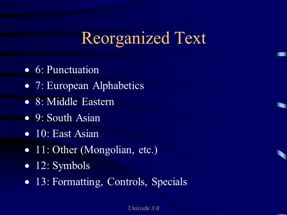 Unicode 3.0 Reorganized Text 6: Punctuation 7: European Alphabetics 8: Middle Eastern 9: South Asian 10: East Asian 11: Other (Mongolian, etc.) 12: Symbols 13: Formatting, Controls, Specials