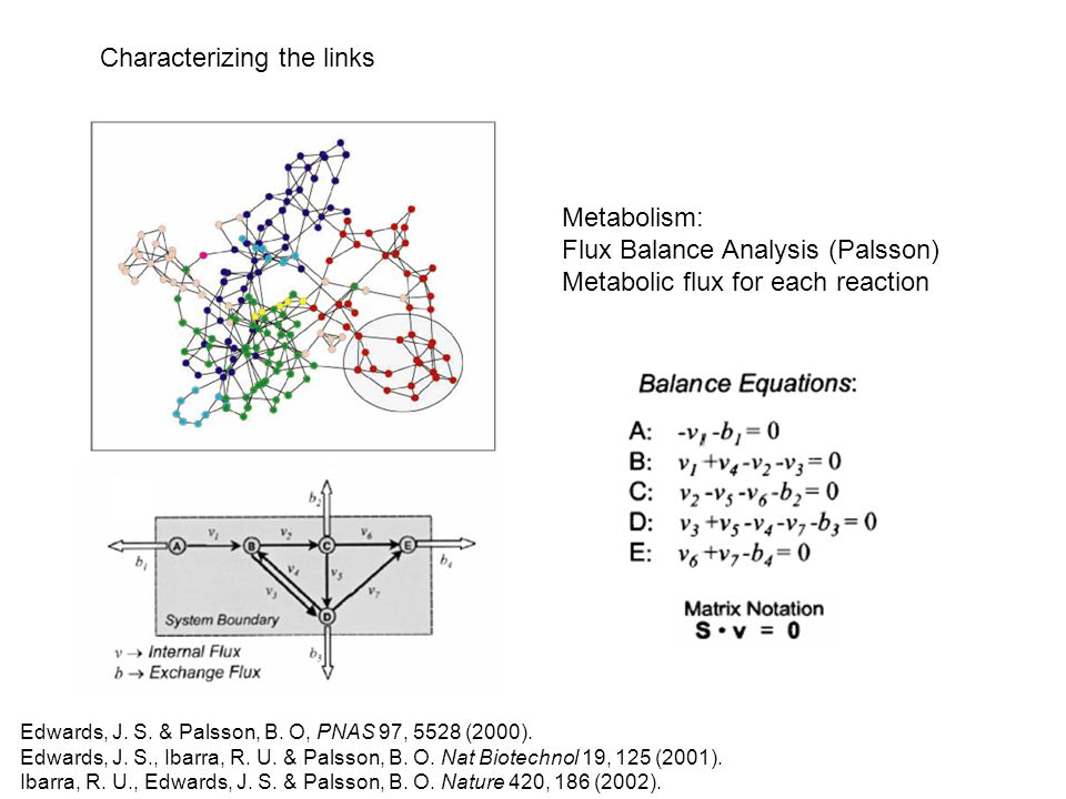 Characterizing the links Metabolism: Flux Balance Analysis (Palsson) Metabolic flux for each reaction Edwards, J.