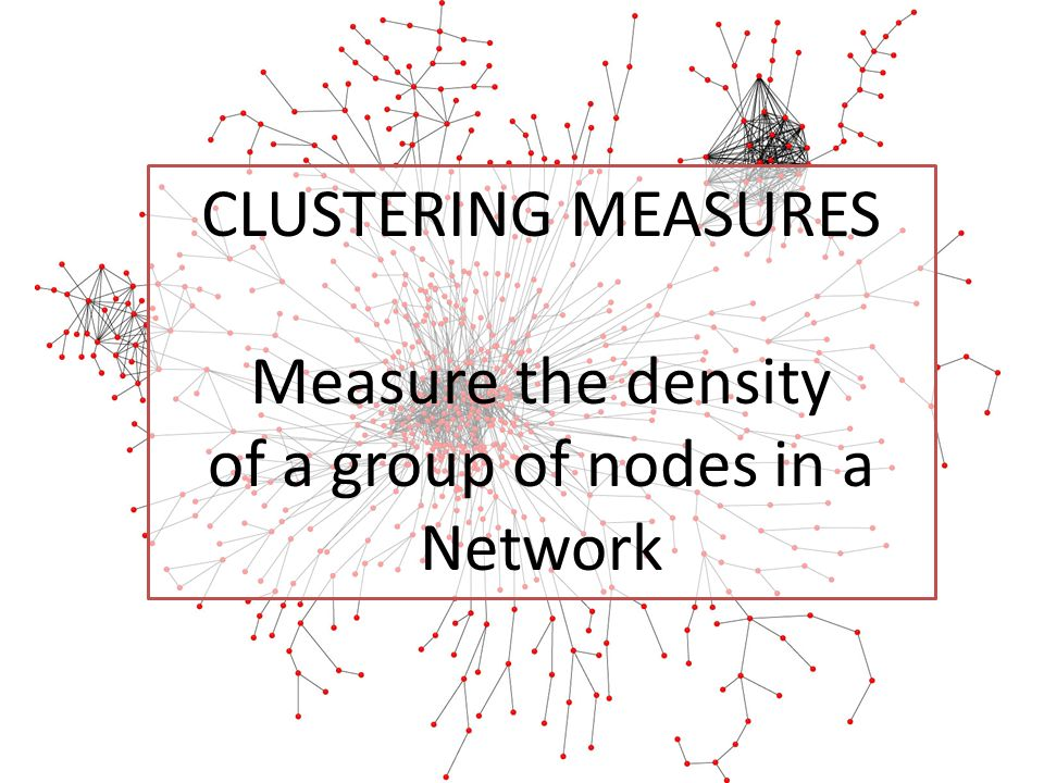 CLUSTERING MEASURES Measure the density of a group of nodes in a Network
