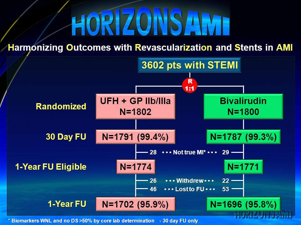 Harmonizing Outcomes with Revascularization and Stents in AMI UFH + GP IIb/IIIa N=1802 Bivalirudin N=1800 R 1:1 Randomized * Biomarkers WNL and no DS >50% by core lab determination 30 day FU only 1-Year FU Eligible 30 Day FU N=1791 (99.4%)N=1787 (99.3%) N=1774N=1771 Withdrew Withdrew Lost to FU Lost to FU pts with STEMI Not true MI* Not true MI* Year FU N=1702 (95.9%)N=1696 (95.8%)