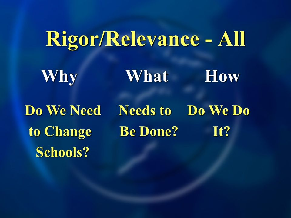 Rigor/Relevance - All Why Why Do We Need to Change to Change Schools.