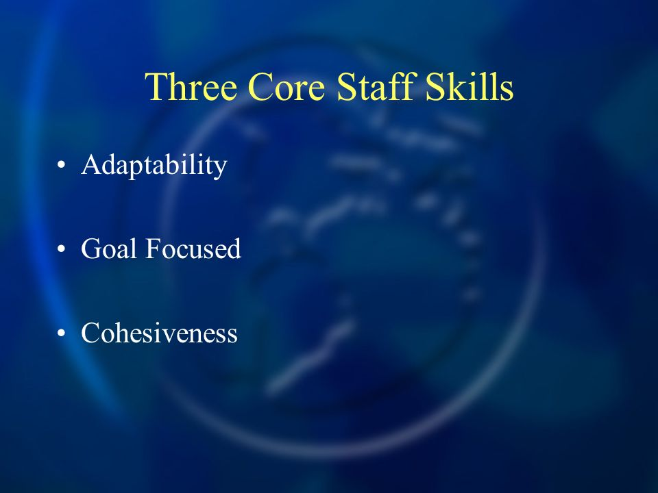 Three Core Staff Skills Adaptability Goal Focused Cohesiveness
