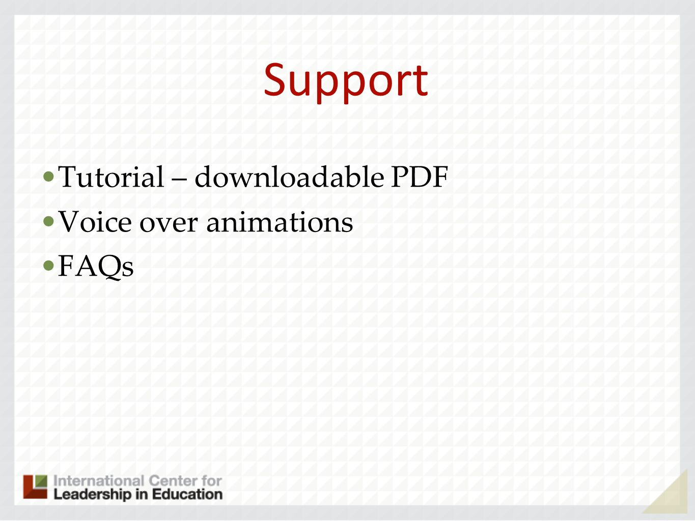 Support Tutorial – downloadable PDF Voice over animations FAQs