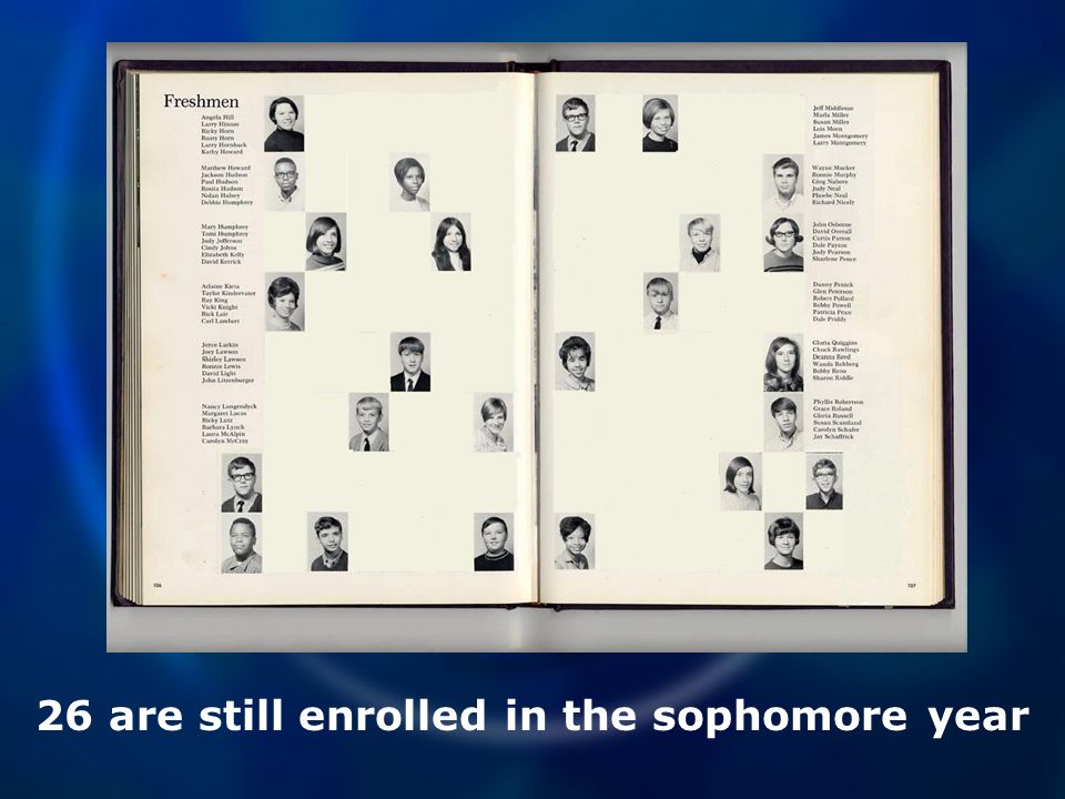 26 are still enrolled in the sophomore year