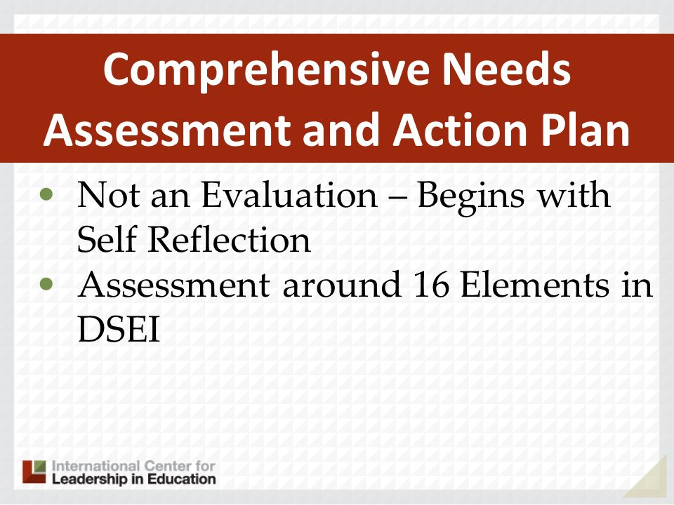 Not an Evaluation – Begins with Self Reflection Assessment around 16 Elements in DSEI Comprehensive Needs Assessment and Action Plan